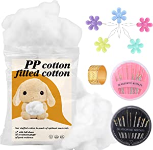 450g Premium Fiber Fill, White Polyester Fiber, Recycled Polyester Fiber, Hand Sewing Needle, and Needle Thread for Dolls DIY, Home Decoration Projects