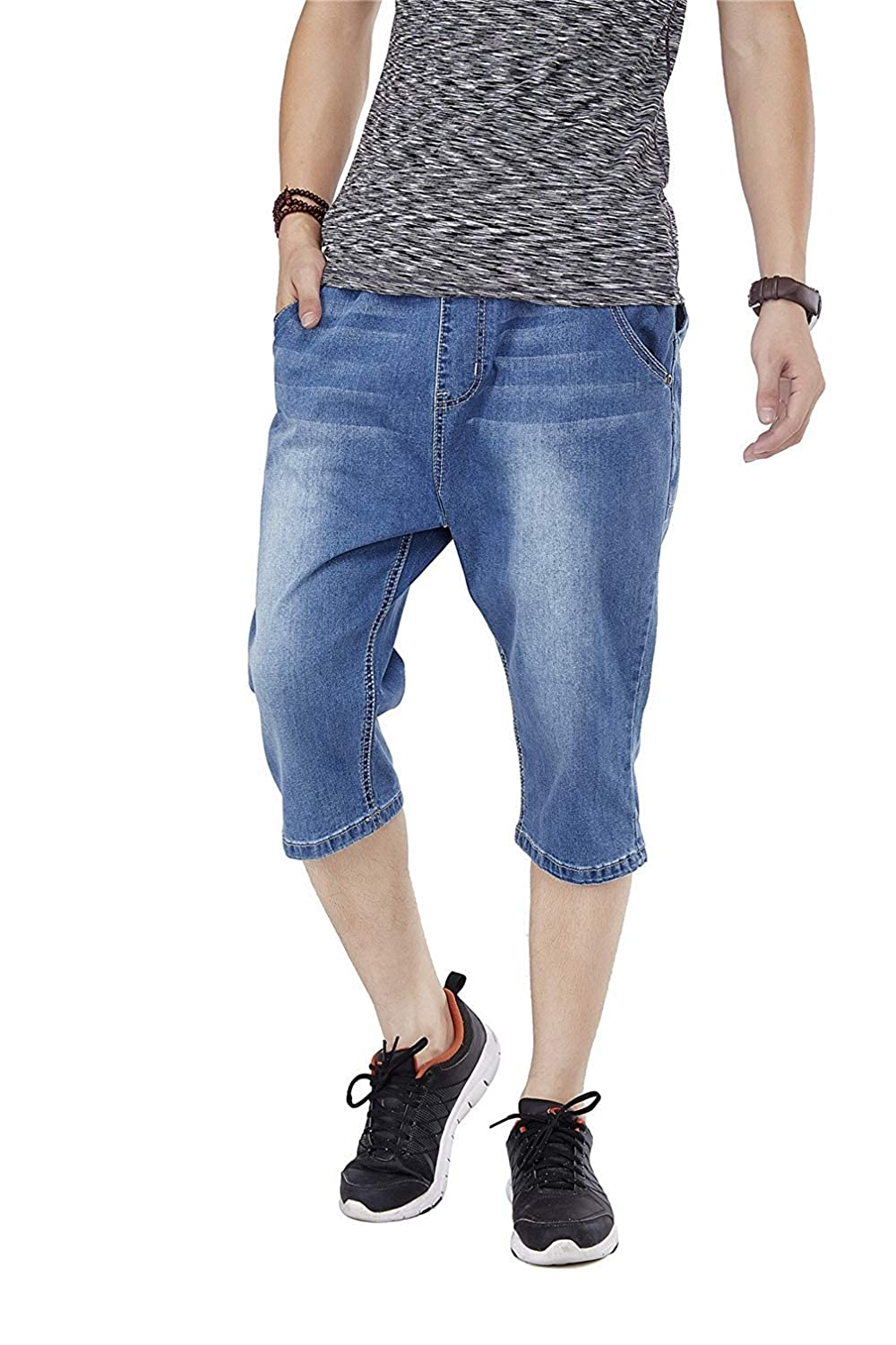 Hanglin Trade Mens Hip-Hop Wash Denim Pocket Short Baggy Pants Jeans