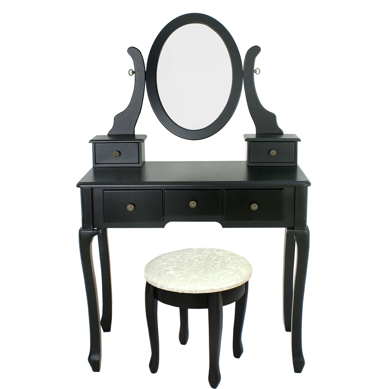 Vanity Table Set with Stool Dressing Table Set Solid Makeup Table with 5 Drawers and Mirror Black (black)