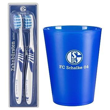 FC Schalke 04 – Vaso para cepillo de dientes y cepillo de dientes