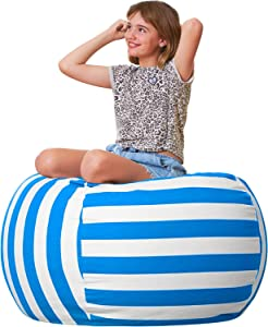 """Aubliss Stuffed Animal Bean Bag Storage Chair, Beanbag Covers Only for Organizing Plush Toys, Turns into Bean Bag Seat for Kids When Filled, Large 38""""-Canvas Stripes Blue/White"""