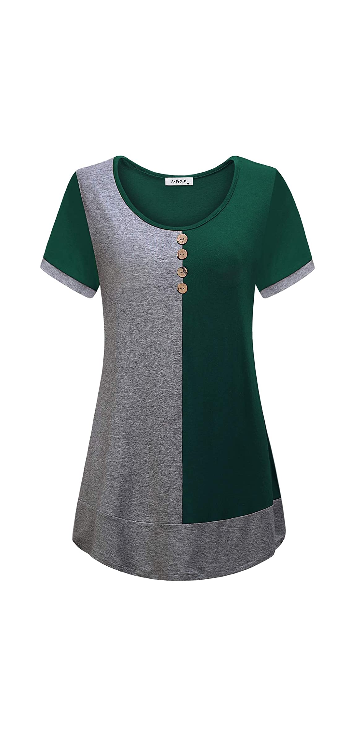 Women's Short Sleeve Round Neck Color Block Flare Tunic