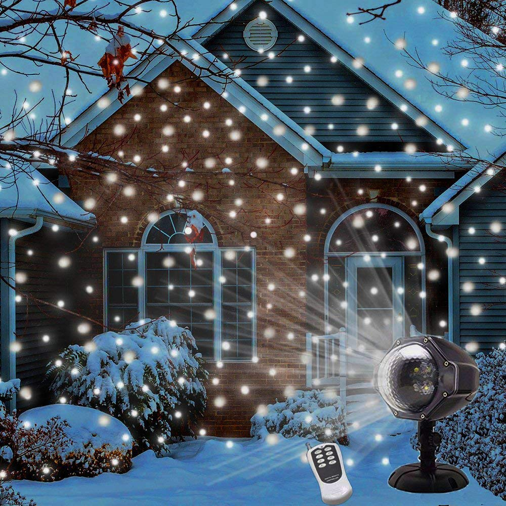 LED Snowfall Projector Lights Christmas Snowflake Projector Light with Wireless Remote Indoor Outdoor Waterproof Snow Falling Landscape Projection Light for Halloween Party Wedding Garden Decorations by UPODA