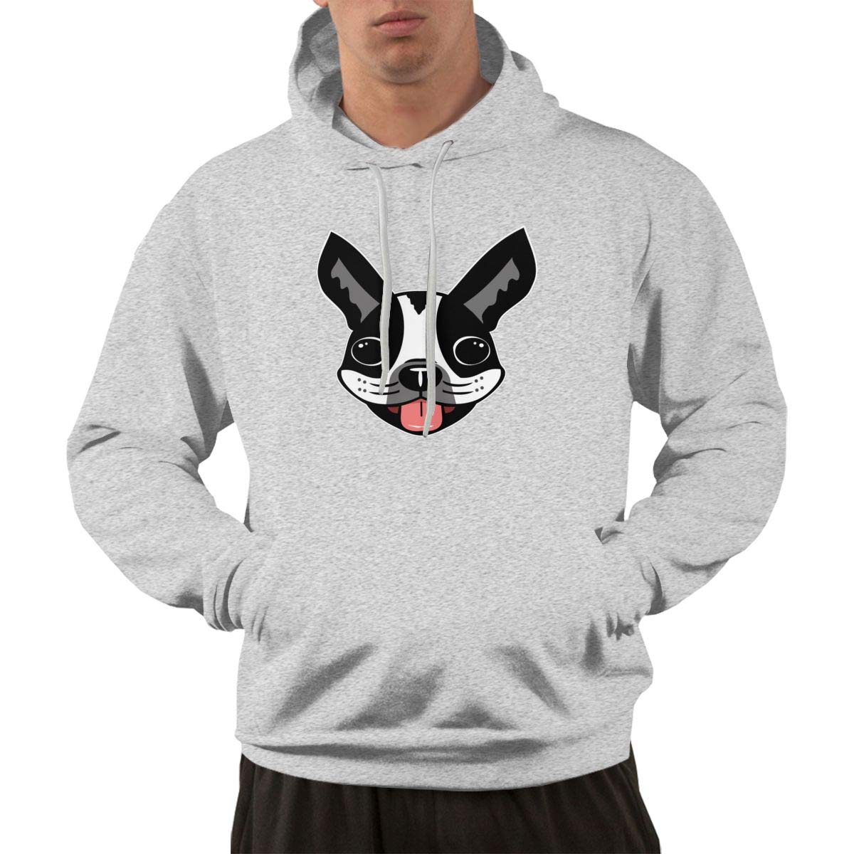 Milo The Boston Terrier Hoodie Mens Autum Winter Gym Workout Jackets Outwear with Front Pocket