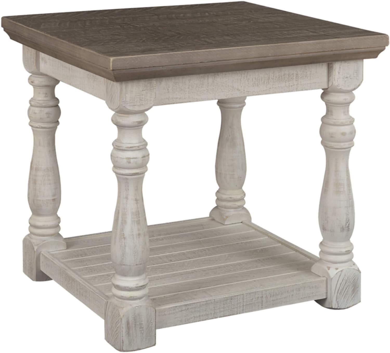 Signature Design by Ashley - Havalance Farmhouse End Table, Whitewash/Brown Wood