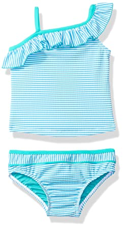 bbf54158aa Amazon.com: Tommy Bahama Baby Girl One Shoulder Striped Two Piece Bikini,  Blue, 12M: Clothing