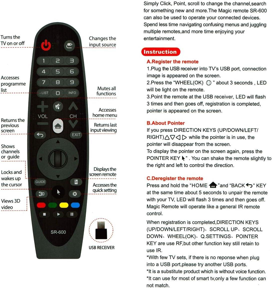 Mando a Distancia de Repuesto para LG 49UF7707 Smart TV con conexión preprogramada One-to-One: Amazon.es: Electrónica