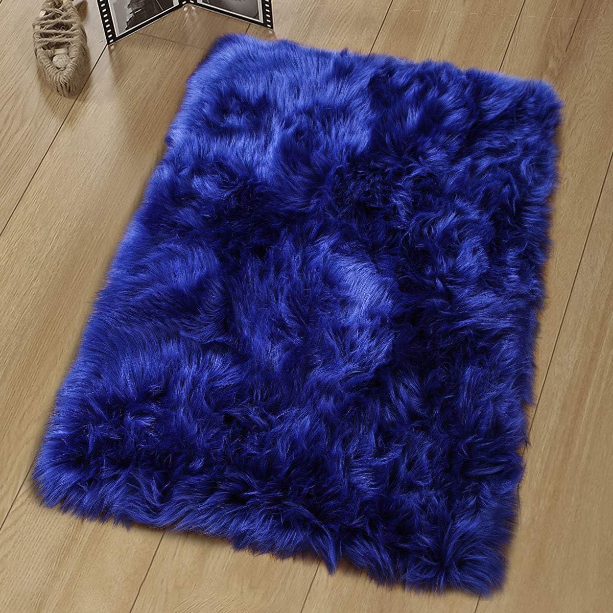 Noahas Luxury Fluffy Rugs Bedroom Furry Carpet Bedside Faux Fur Sheepskin Area Rugs Children Play Princess Room Decor Rug, 2ft x 3ft, Navy Blue