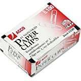 ACCO Paper Clips, Economy, Non-skid, #1 Size, 100/Box, 10 Boxes (72385)