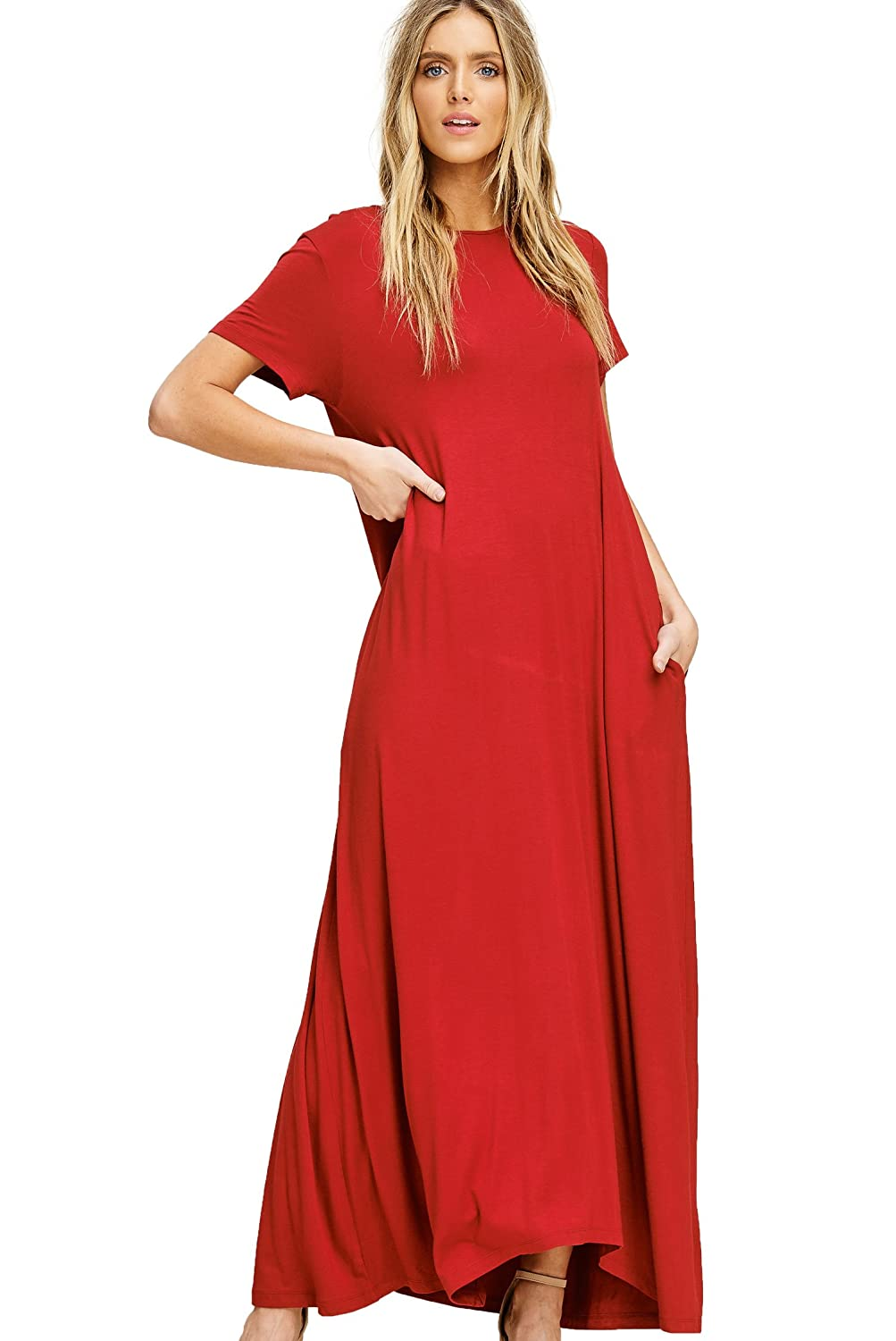 0012cee9001 Annabelle Women s Round Neck Short Sleeve Uneven Hem Casual Jersey Maxi  Dress with Side Pockets at Amazon Women s Clothing store