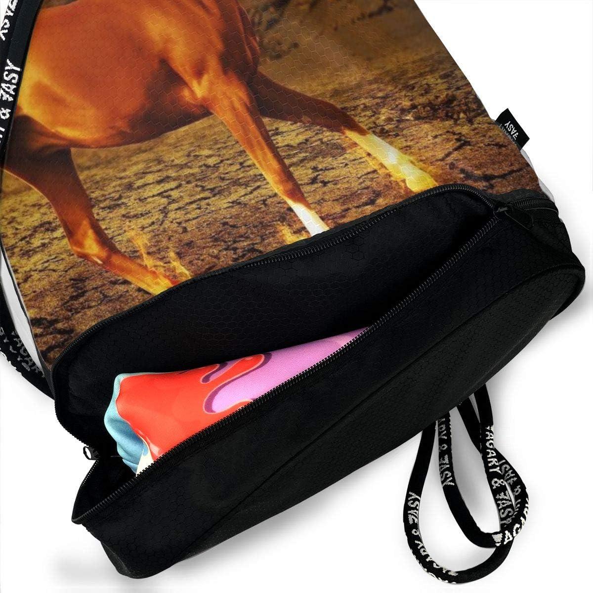 GymSack Drawstring Bag Sackpack Fire Horse Sport Cinch Pack Simple Bundle Pocke Backpack For Men Women
