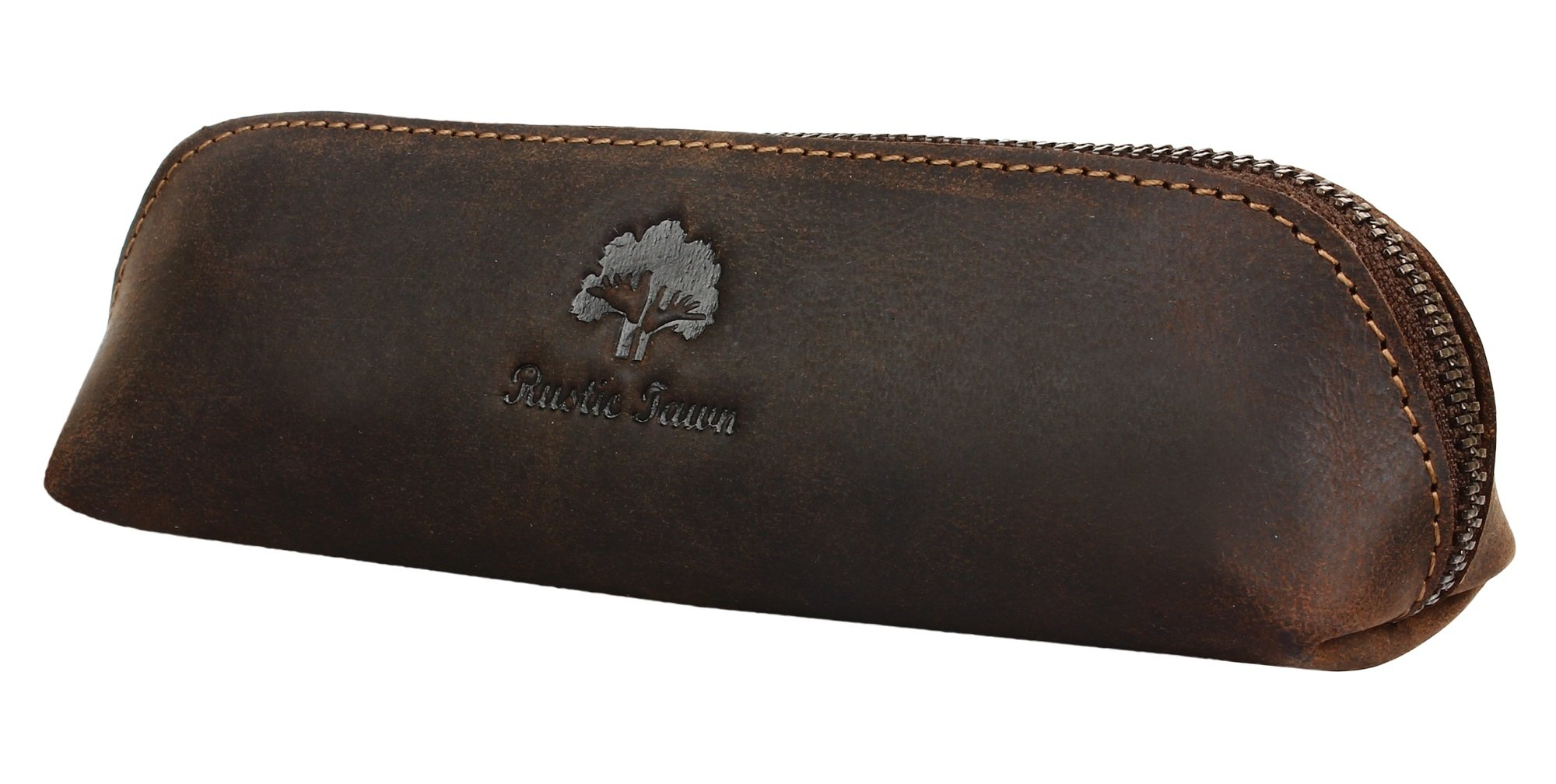 Leather Pen Case - Zippered Pencil Pouch for School, Work & Office by Rustic Town