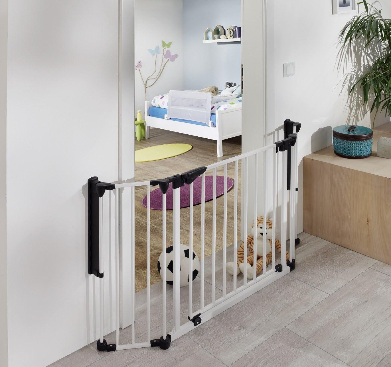 van Hoogen® Discovery | Barrera de seguridad para puertas | Barrera cierre | Separador de estancias | 80-125 cm | En 2 colores y tamaños | Bebé | Niño | Perro | Seguridad probada: Amazon.es: Bebé