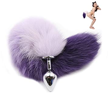 5eadc26cd Metal Anal Toys Purple Fox Tail Anal Plug Erotic Toys Butt Toys Sex Plug for  Woman