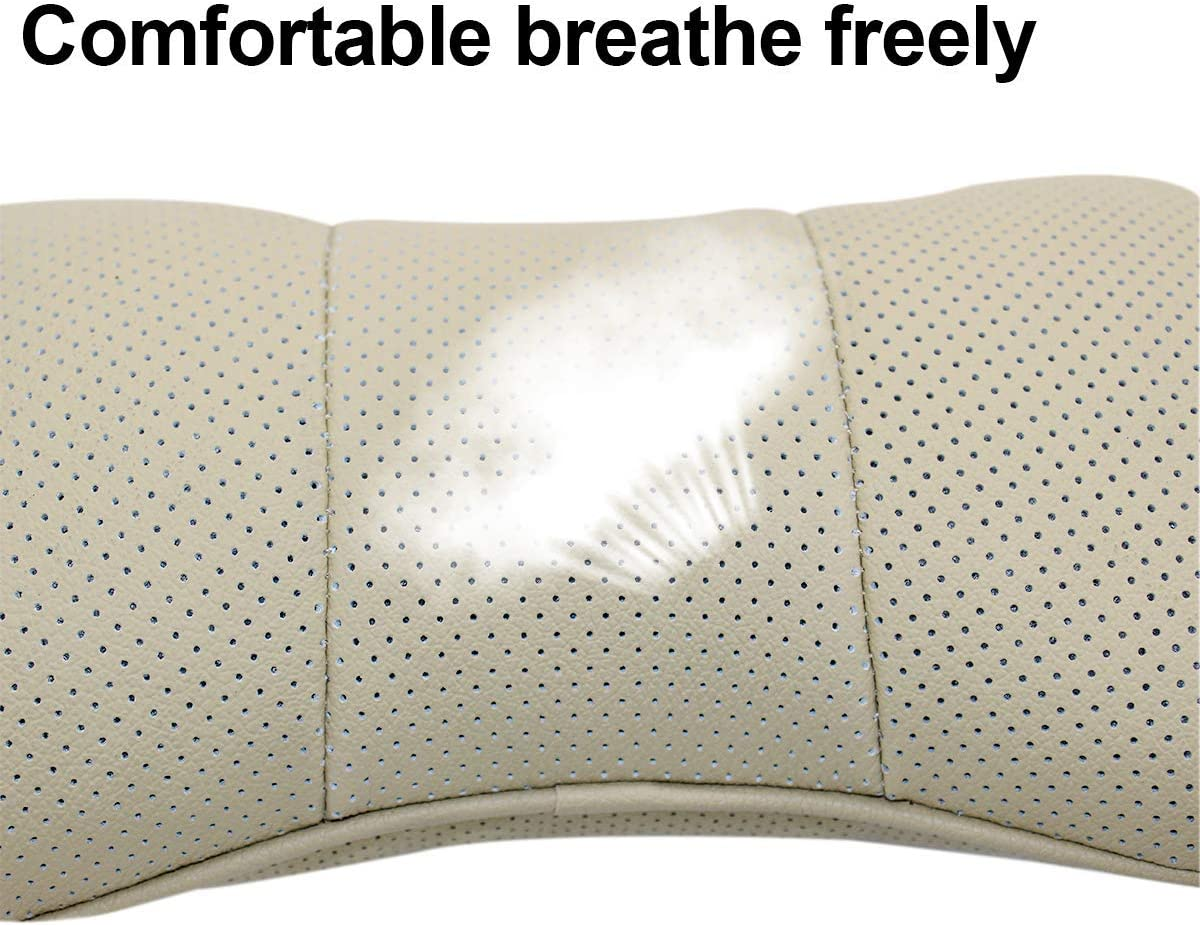 fit benz Bearfire 2 PCS Genuine Leather Bone-Shaped Car Seat Pillow Neck Rest Headrest Comfortable Cushion Pad with Logo Pattern