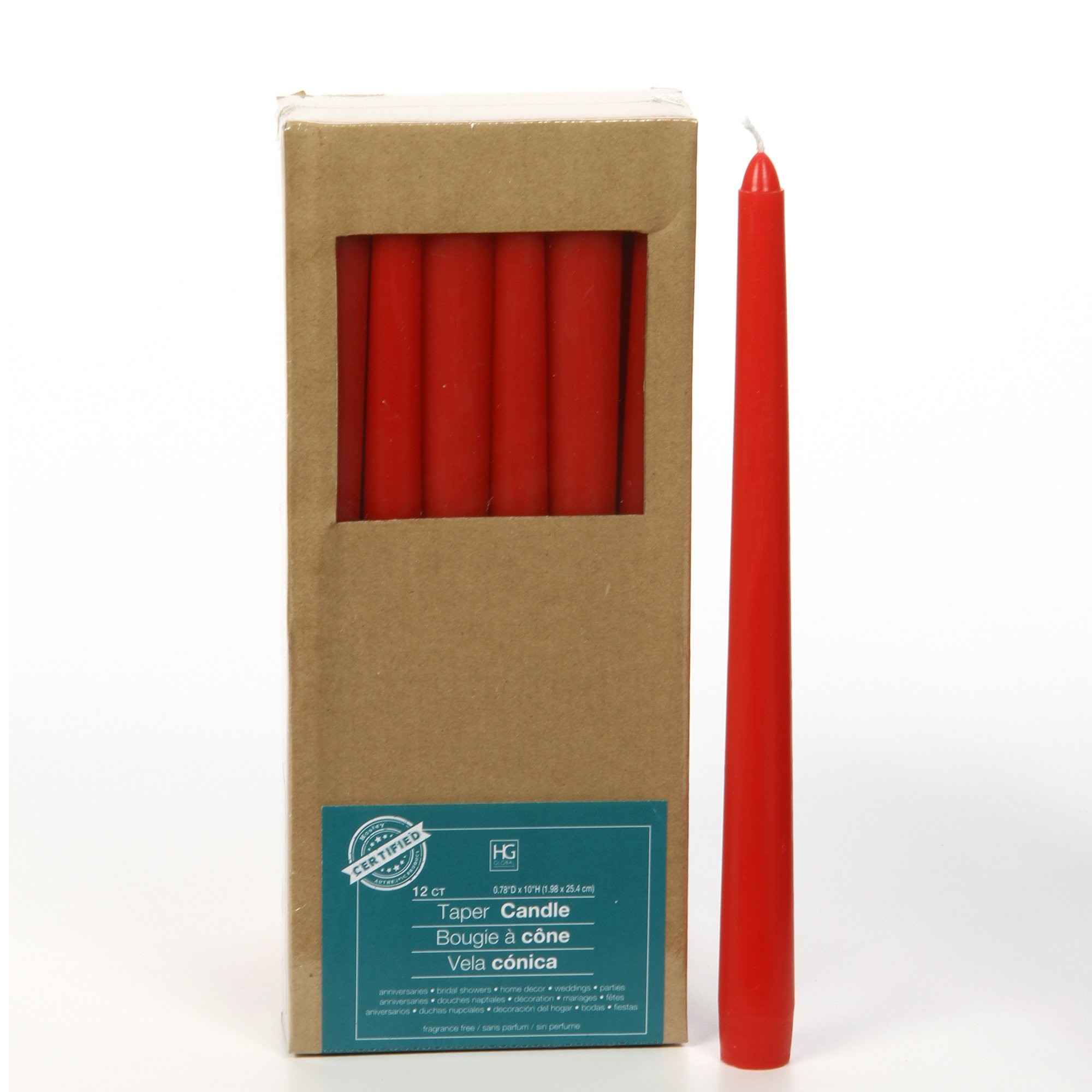 Hosley Set of 12 Red Unscented Taper Candles, 10'' High. Bulk Buy, using Wax Blend. Ideal for Wedding, Emergency Lanterns, Spa, Aromatherapy, Party, Reiki, Church, Vigil O4
