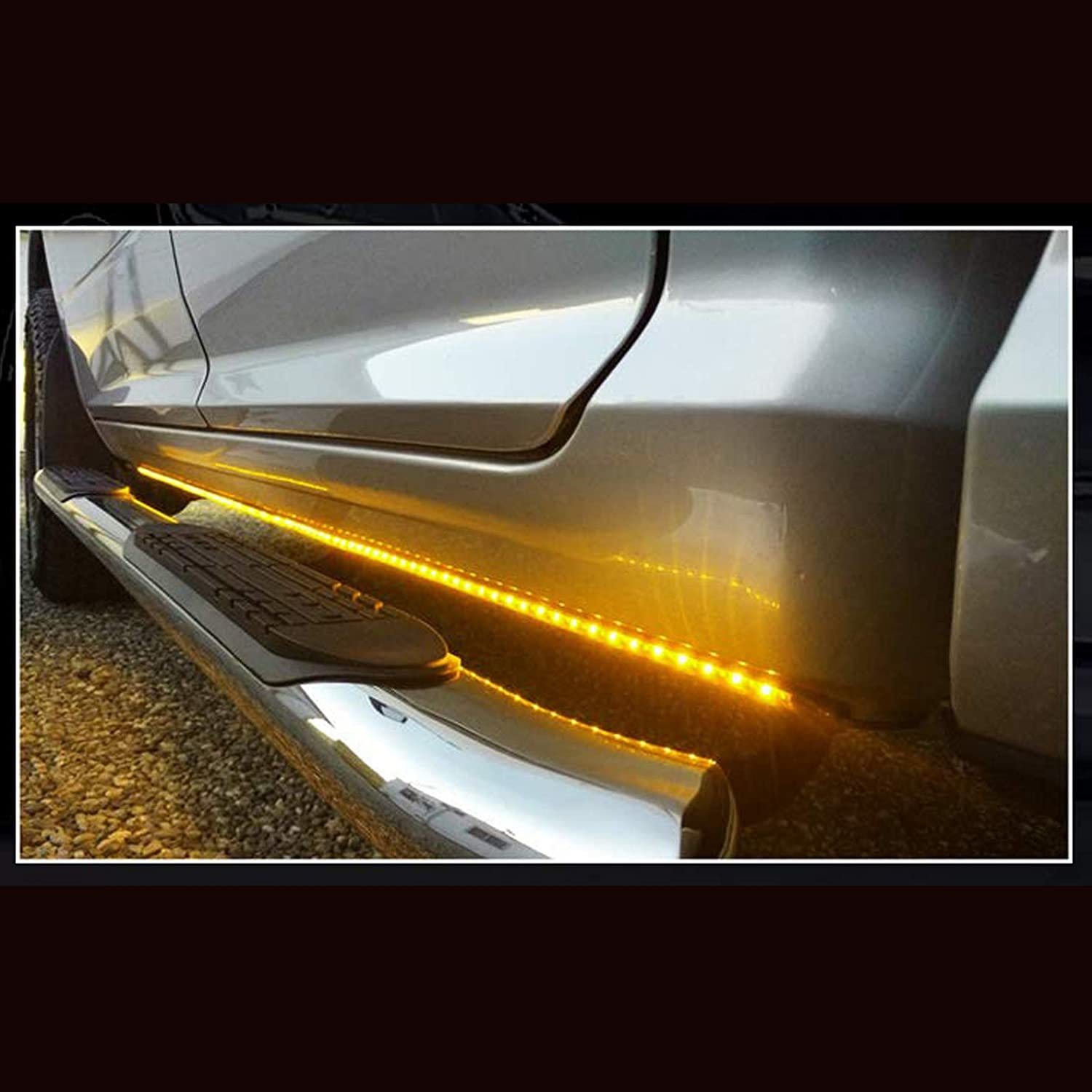 NBWDY 2pcs 62inch LED Truck Running Board Light Strips for Side Marker w//SEQUENTIAL Amber Turn Signal and White Courtesy Light use for Trucks Pickup SUV