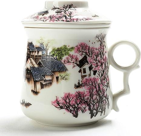 vente discount style populaire nouveau concept TEANAGOO M01-1 Tasse à thé Chinoise (400ML) avec infuseur et Couvercle,  (Village), Filtre en Porcelaine Asiatique, Fabricant de Tasses à thé,  passoire ...