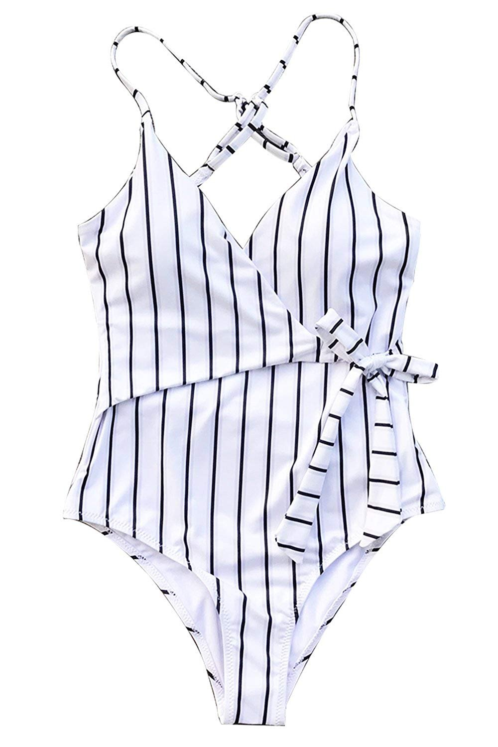 [Cupshe] [women`s Stripe One-Piece Swimsuit 女性のストライプワンピース水着] (並行輸入品) B07F2K25GP Small|One Color