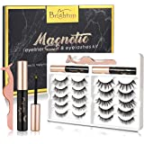 Brightup Magnetic Eyelashes with Eyeliner, 10 Pairs 3D Natural Look Reusable False Magnetic lashes Kit, 2 Tubes Long…