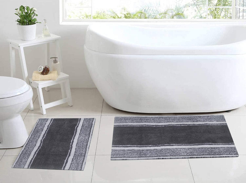 Chardin Home - 100% Pure Cotton - 2 Piece Manhattan Stripe Bathroom Rug Set with Anti Skid Spray Latex Underneath (21''x34'' & 17''x24'') Grey & White