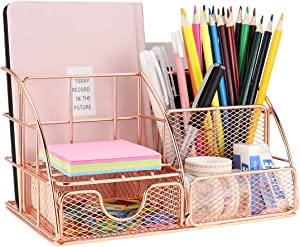 LEORISO Desk Organizer Supplies, Rose Gold Office Organizer with Mail Organizer, Pen Holder, Paper Organizer & Desk Drawer Organizer, Metal Multifunctional Desktop Organizer for Office, School & Home