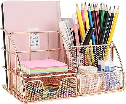 portapenne in metallo Elegante portapenne in rete metallica color oro rosa multifunzione.