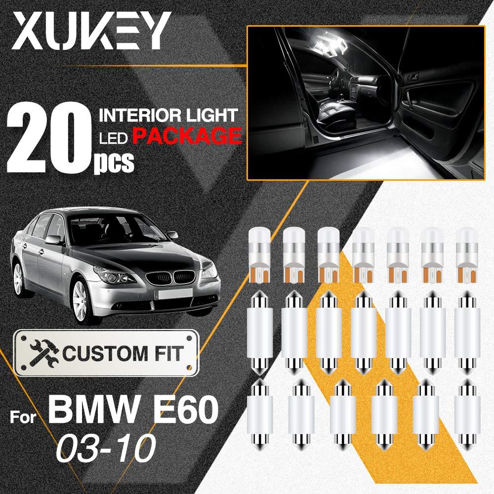 Xukey 20pcs Kit de luces LED de domo interior para coche CANBUS para E60 E61 M5 523i 530i 550i 530d 2003 2004 2005 2006 2007 2008 2009 2010