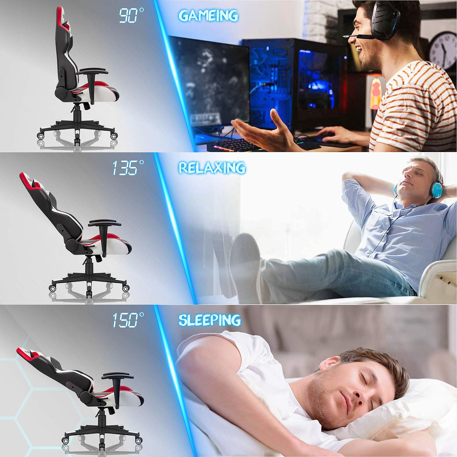 Homall Gaming Chair Racing Style High-Back PU Leather Office Chair Computer Desk Chair Executive and Ergonomic Swivel Chair with Headrest and Lumbar Support (White/Red) by Homall (Image #5)