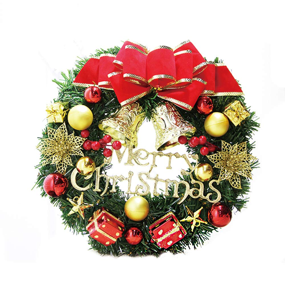iumei Christmas Wreath,Golden Bell Ball Merry Christmas Red Bow Gifts Box Berries Decorated Pine Wreath Garland Party Decor Ornament 30cm