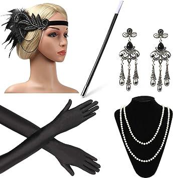 Beelittle Anni 20 Accessori Set Fascia portasigarette Grandi Costumi Gatsby per Donna Guanti Collana