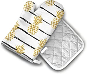 CA6ZZ.CO.LTD Non-Slip Oven Mitt Set Summer Gold Pineapple On Striped Heat Resistant Oven Mitts & Pot Holders for Kitchen,Oven Gloves for BBQ,Baking, Grilling,Handle Hot Oven/Cooking Items Safely