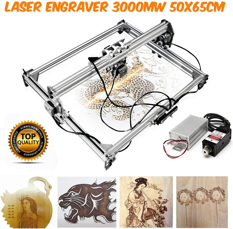 65cm Mini 3000MW Blue CNC Engraving Machine 2Axis DC 12V DIY Engraver Desktop Wood Router//Cutter//Printer 50 Laser