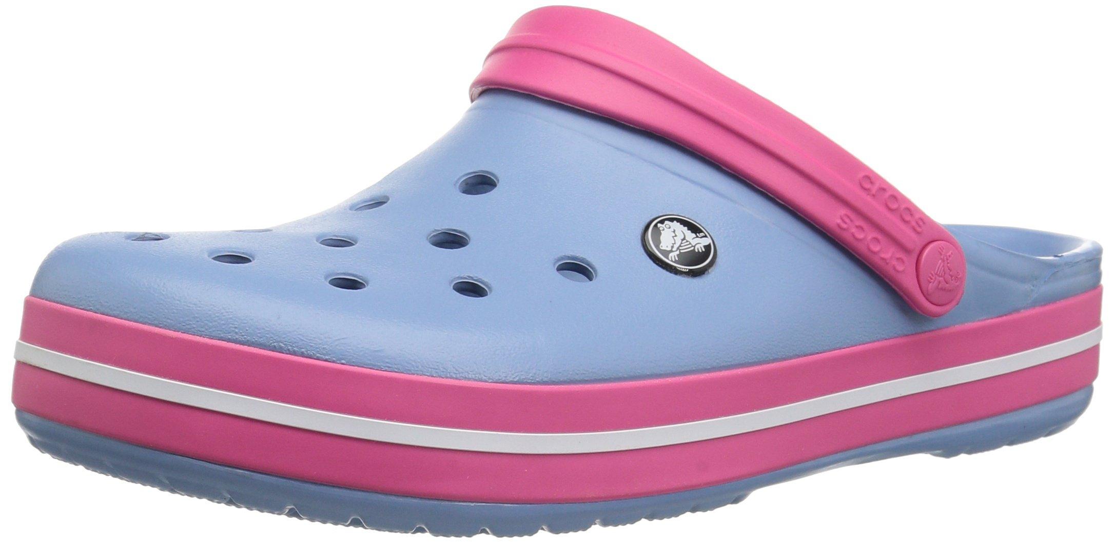 Crocs Unisex-Adult Crocband Clog, Chambray Blue/Paradise Pink, 11 US Men/13 US Women