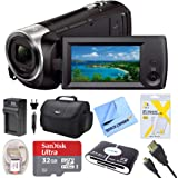 Sony HDRCX440B HDR-CX440B HDR-CX440/B CX440 HD Video Recording Handycam Camcorder Bundle With Deluxe Bag, 32GB MicroSDHC Memory Card, AC/DC Charger, HDMI Cable, Battery Pack, and More