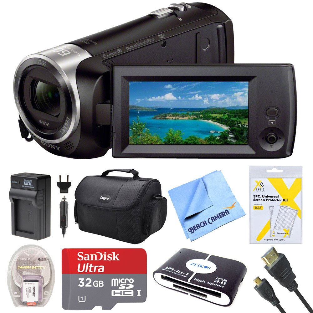 Sony HDRCX440B HDR-CX440B HDR-CX440/B CX440 HD Video Recording Handycam Camcorder Bundle With Deluxe Bag, 32GB MicroSDHC Memory Card, AC/DC Charger, HDMI Cable, Battery Pack, and More by Beach Camera
