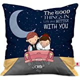 Indigifts Love Printed Cushion 12X12 Pillow With Filler Insert Black Couple Together Life Is Better