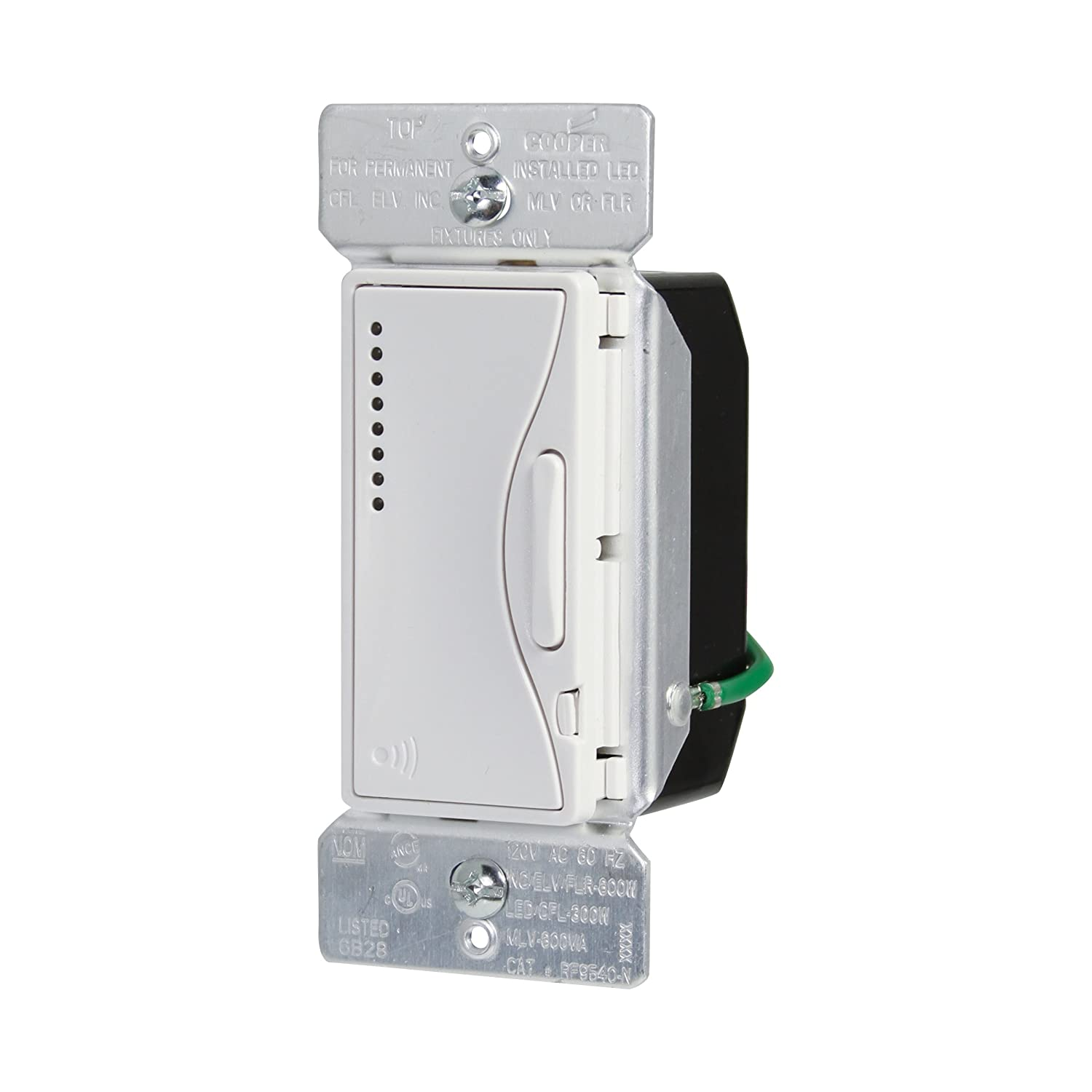 Eaton RF9540-NAW ASPIRE Single-Pole Multi-Location Master Dimmer Light  Switch, Alpine White - Plug In Dimmer Switches - Amazon.com