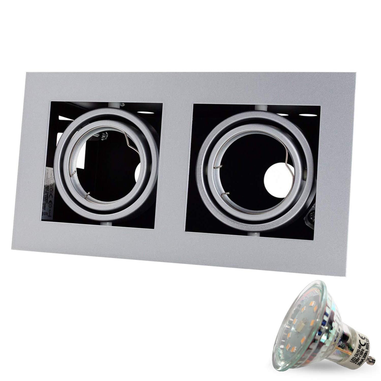 4er SET Q-42 Kardanisch 230V LED inkl. LED 4W Warmweiß inkl. GU10 Fassung (15cm Anschlusskabel) SMD Decken Einbaustrahler Einbauspots Deckenspots [quadratisch, schwenkbar]