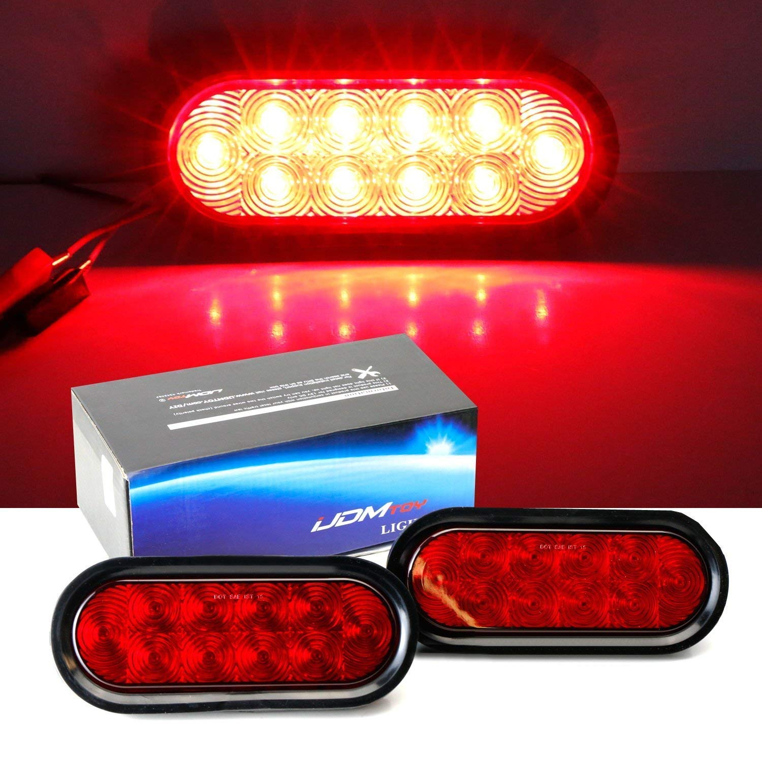 iJDMTOY Clear Lens White LED Reverse Fog Lights Kit Universal Fit For Truck Trailer RV etc, (2) 6.5' Surface Mount Oval Shape Xenon White Lamps w/Grommets & Pigtail Plugs (2) 6.5 Surface Mount Oval Shape Xenon White Lamps w/Grommets & Pigtail Plugs