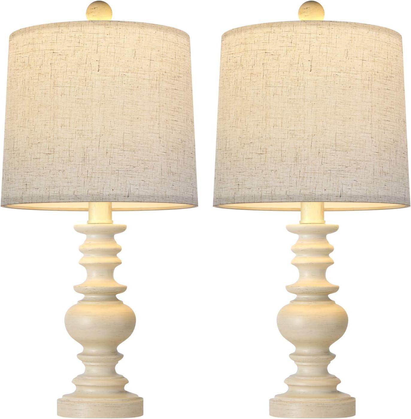 BOBOMOMO Tradition 20.5'' Rustic Table Lamp Set of 2 for Living Room Farmhouse Bedside Desk Lamps Bedroom Nightstand Vintage Lamps Linen Washed
