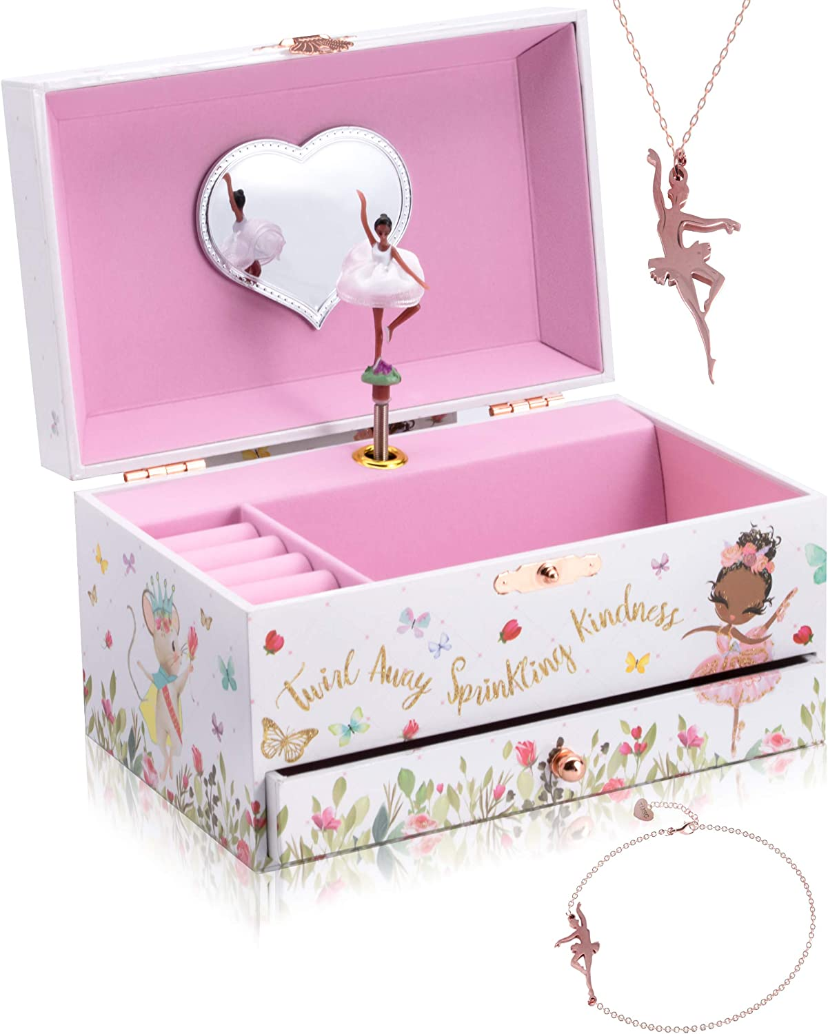 The Memory Building Company Musical Ballerina Jewelry Box for Girls & Little Girls Jewelry Set - 3 Dancer Gifts for Girls… (Black)