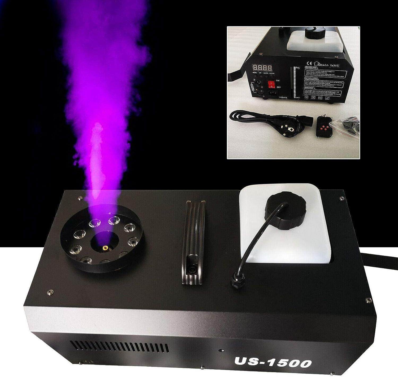 Máquina de niebla 3 en 1, 1500 W, DMX, 9 LED, portátil, con mando a distancia, depósito de 2,5 l, para bodas, fiestas, teatro, discoteca