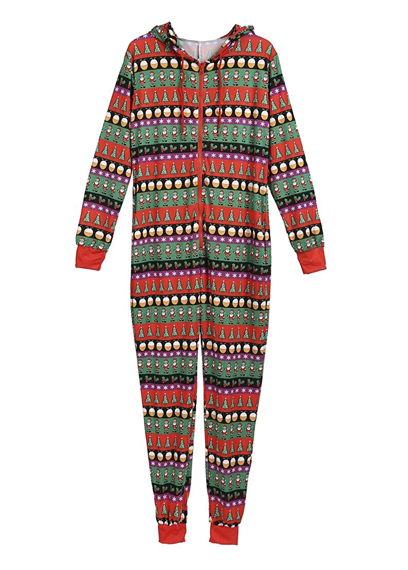 Christmas Family Matching Jumpsuit Pajamas Xmas Onesie Sleepwear Set Long Sleeve Rompers(2XL, 3-8T)