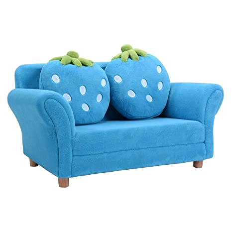 COSTWAY Sofá Infantil Sillón para Niños Muebles 90x54,8x48cm Sofá de Terciopelo Coral con 2 Almohadas (Azul)