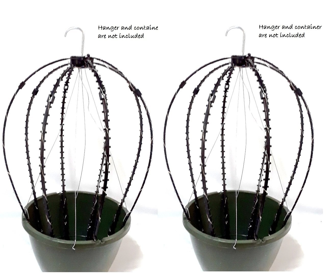 Scroll Trellis Trellis for hanging basket to support vines and/or string lights (2, Black with Lights)