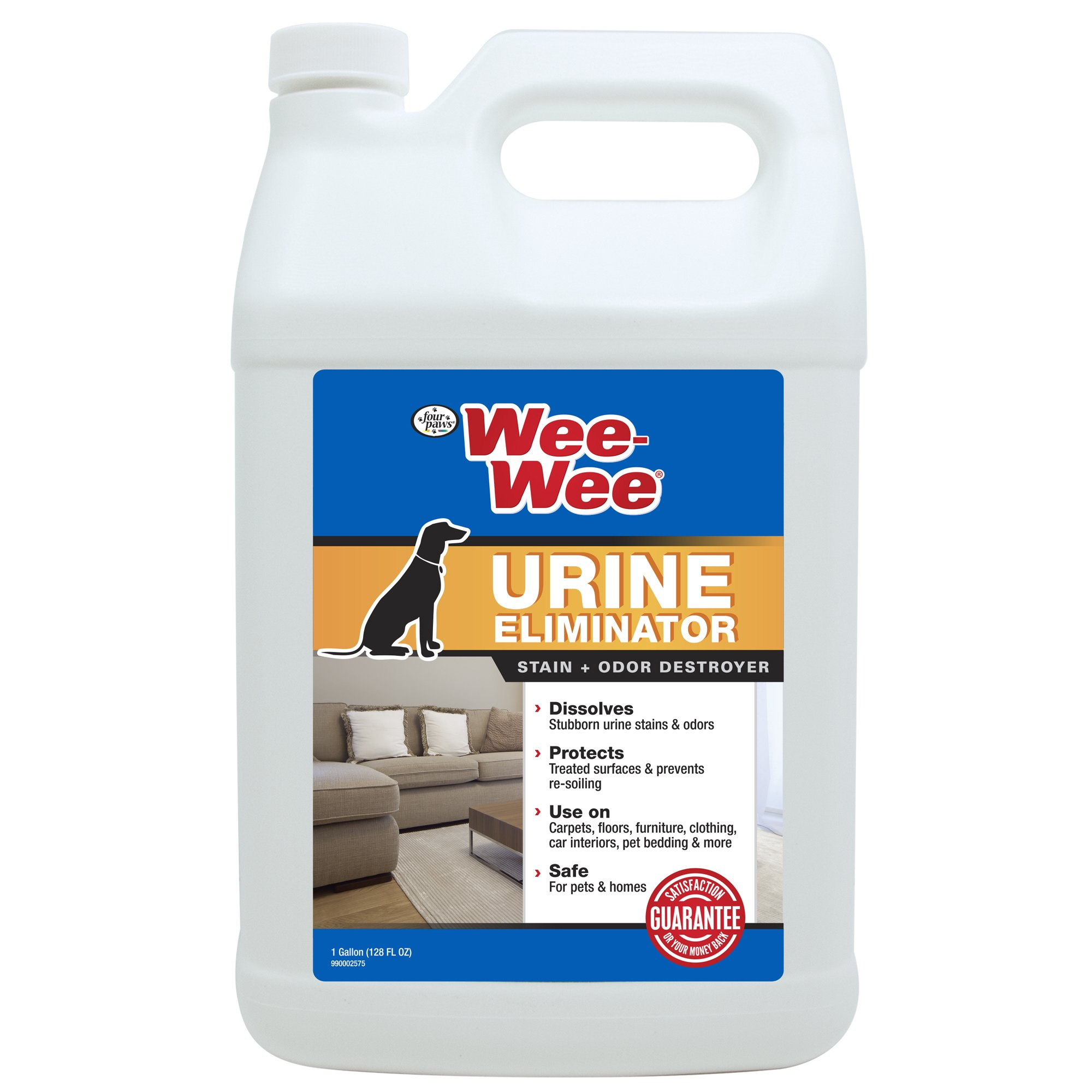 Four Paws Wee-Wee Pet Stain & Odor Eliminator for Urine, Carpet & Fabric, 128 oz