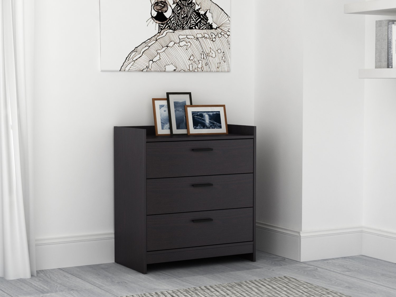 Homestar EB208751B9 Central Park 3 Drawer Chest, 15.98 X 27.48 X 30, Black Brown Homestar North America