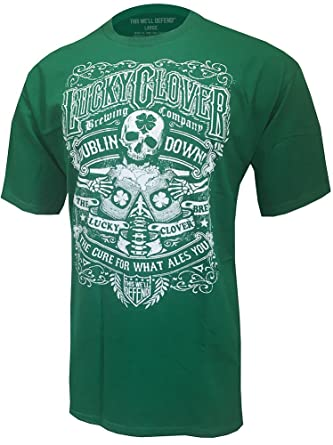 adce3f4e6 This Well Defend - Lucky Clover - Mens Vintage T-Shirt Skeleton Shamrock  Party Made