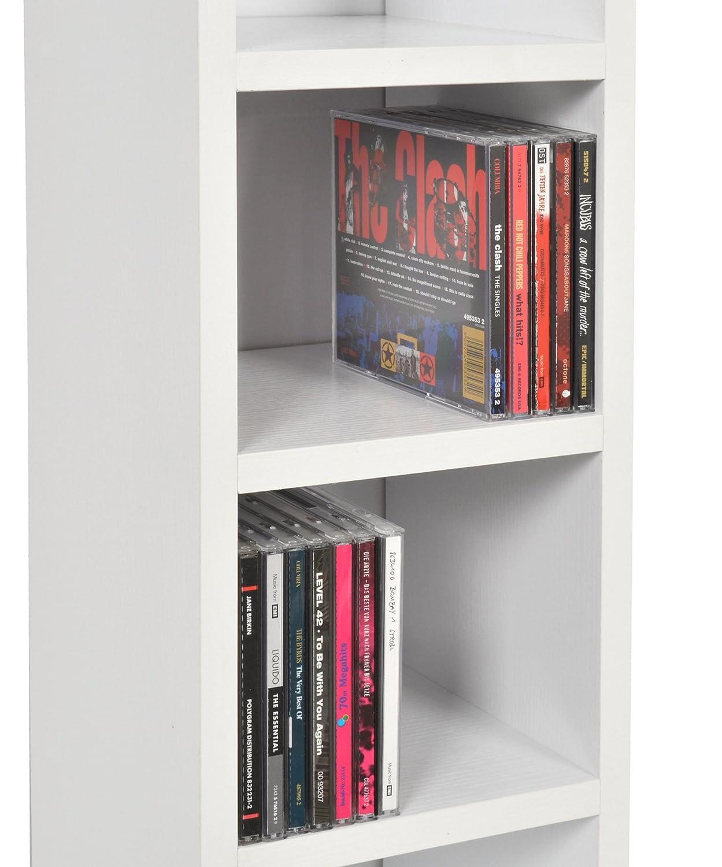 ts-ideen CD-Regal 6 F/ächer Standregal CD Aufbewahrung Holz Weiss 105 x 20 cm